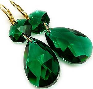 SWAROVSKI CRYSTALS EMERALD JOLIE GOLD EARRINGS PENDANT GOLD PLATED STERLING SILVER