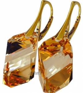 SWAROVSKI CRYSTALS GOLDEN EARRINGS 24K GP STERLING SILVER CERTIFICATE HANDMADE