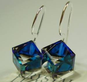 EARRINGS SWAROVSKI CRYSTALS *BLUE CUBE 8MM* STERLING SILVER CERTIFICATE