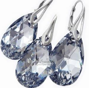 EARRINGS+PENDANT SWAROVSKI CRYSTALS *COMET PEAR DROP* STERLING SILVER