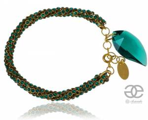 SWAROVSKI BEAUTIFUL BRACELET EMERALD LEAF CRYSTALLIZED GOLD PLATED STERLING SILVER