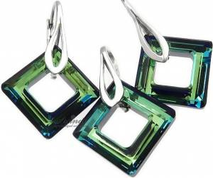 SWAROVSKI BEAUTIFUL EARRINGS PENDANT BLUE SQUARE STERLING SILVER 925