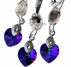 SWAROVSKI UNIQUE EARRINGS PENDANT CRYSTAL HELIO HEART STERLING SILVER 925