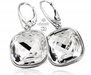 SWAROVSKI UNIQUE BEAUTIFUL EARRINGS CRYSTAL SQUARE STERLING SILVER 925