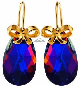 SWAROVSKI BEAUTIFUL EARRINGS VOLCANO GOLD PLATED STERLING SILVER