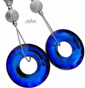 SWAROVSKI BEAUTIFUL EARRINGS DIAMOND BLUE STERLING SILVER 925