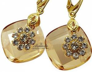 SWAROVSKI EARRINGS *METRO GOLD* 24K GOLD PLATED STERLING SILVER