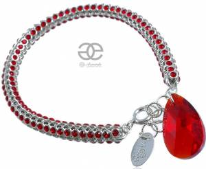 SWAROVSKI BEAUTIFUL BRACELET CRYSTALLIZED RED STERLING SILVER 925