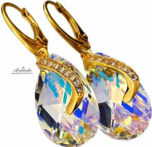 SWAROVSKI CRYSTALS *AURORA SENTI GOLD* UNIQUE EARRINGS 24K GOLD PLATED SILVER