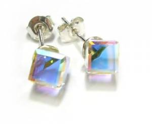 SWAROVSKI CRYSTALS AURORA CUBE EARRINGS+NECKLACE STERLING SILVER HANDMADE