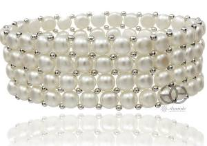 BEAUTIFUL LARGE BRACELET GENUINE NATURAL WHITE PEARLS 4 ROWS