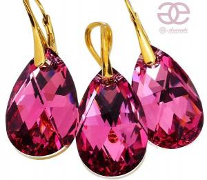 NEW! SWAROVSKI CRYSTALS ROSE COMET EARRINGS+PENDANT GOLD PLATED STERLING SILVER