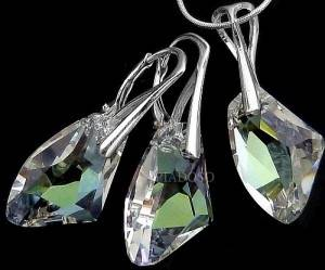 GENUINE SWAROVSKI CRYSTALS MOONLIGHT SET 925 SILVER