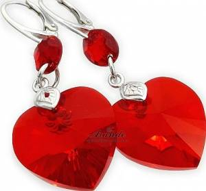 RED HEART GLOSS EARRINGS SWAROVSKI CRYSTALS