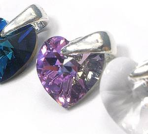 NECKLACE SWAROVSKI CRYSTALS *HEART MANY COLORS* STERLING SILVER