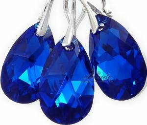 SWAROVSKI BEAUTIFUL EARRINGS PENDANT BLUE COMET STERLING SILVER 925