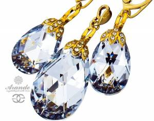 SWAROVSKI DECORATIVE EARRINGS PENDANT COMET SPECIAL GOLD PLATED STERLING SILVER