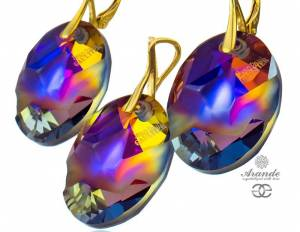 SWAROVSKI EARRINGS PENDANT VOLCANO JEAN PAUL GAULTIER GOLD PLATED STERLING SILVER