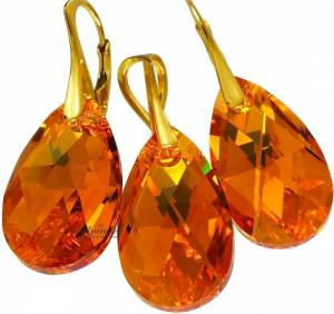 SWAROVSKI CRYSTALS EARRINGS+PENDANT *TOPAZ GOLD* 24K GOLD PLATED SILVER