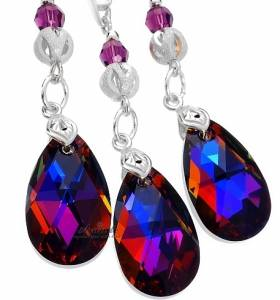 EARRINGS+PENDANT SWAROVSKI CRYSTALS *VOLCANO AMETHYST* STERLING SILVER