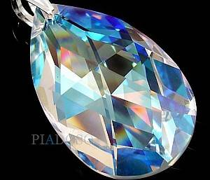 SWAROVSKI LARGE PENDANT BLUE AURORA 50 MM STERLING SILVER 925