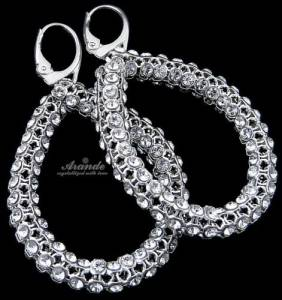 NEW SWAROVSKI CRYSTALS GENUINE EARRINGS *CRYSTALLIZED* STERLING SILVER