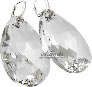 LARGE EARRINGS 50MM SWAROVSKI CRYSTALS SILVER
