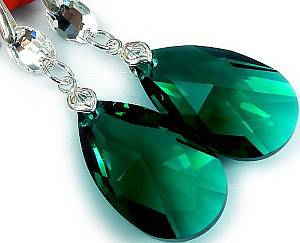 EARRINGS SWAROVSKI CRYSTALS *EMERALD GLOSS* STERLING SILVER CERTIFICATE