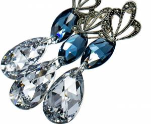 SWAROVSKI BEAUTIFUL EARRINGS PENDANT DENIM COMET STERLING SILVER
