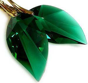 SWAROVSKI CRYSTALS *EMERALD LEAF* EARRINGS 24K GOLD PLATED STERLING SILVER
