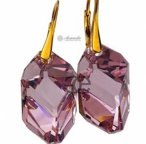 SWAROVSKI UNIQUE EARRINGS LIGHT AMETHYST GOLD PLATED STERLING SILVER