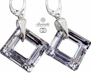 SWAROVSKI EARRINGS COMET SPECIAL SQUARE STERLING SILVER
