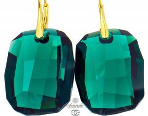 SWAROVSKI BEAUTIFUL EARRINGS EMERALD GRAPHIC GOLD PLATED STERLING SILVER