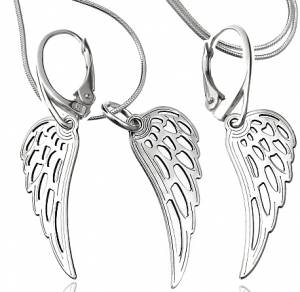 TRENDY EARRINGS NECKLACE *SENSATION WING* STERLING SILVER 925