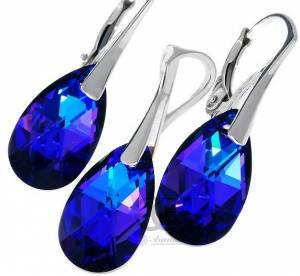 SWAROVSKI CRYSTALS EARRINGS AND PENDANT HELIOTROPE SILVER 925
