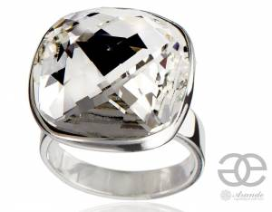 SWAROVSKI BEAUTIFUL RING CRYSTAL SQUARE STERLING SILVER