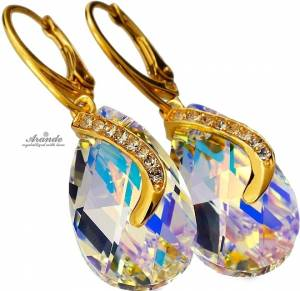 SWAROVSKI EARRINGS PENDANT CHAIN *AURORA SENTI* 24K GOLD PLATED SILVER