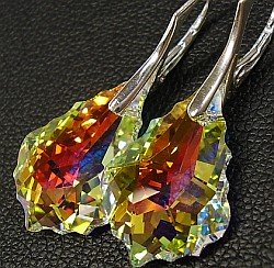 SWAROVSKI EARRINGS AURORA BAROQUE STERLING SILVER