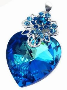 SWAROVSKI UNIQUE PENDANT OCEAN HEART BLUE STERLING SILVER 925