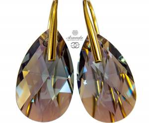 NEW SWAROVSKI ELEGANT EARRINGS BLACK DIAMOND SHIMMER GOLD PLATED STERLING SILVER