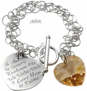 BRACELET SWAROVSKI CRYSTALS *I LOVE YOU* GOLDEN HEART CERTIFICATE SILVER