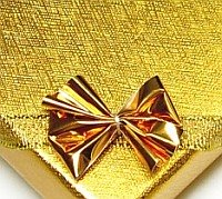 ELEGANT GIFT BOX GOLD FOR JEWELLERY RIBBON HOLOGRAM