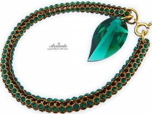 BRACELET SWAROVSKI CRYSTALS GENUINE *EMERALD LEAF CRYSTALLIZED* GOLD PLATED SILVER