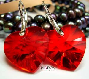 SWAROVSKI CRYSTALS SILVER EARRINGS RED HEART STERLING SILVER HANDMADE