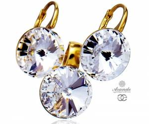 SWAROVSKI BEAUTIFUL EARRINGS PENDANT CRYSTAL PARIS GOLD PLATED STERLING SILVER