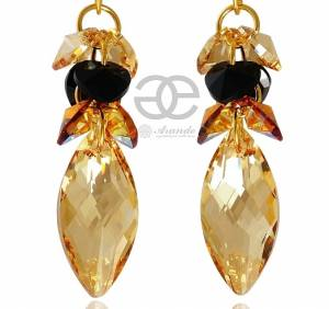 GOLDEN NAWI EARRINGS BEAUTIFUL SWAROVSKI CRYSTALS