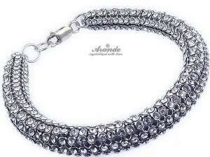 SWAROVSKI CRYSTALS WIDE BRACELET *CRYSTALLIZED* STERLING SILVER