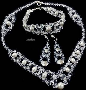 SWAROVSKI CRYSTALS WEDDING JEWELLERY SET *CRYSTAL PEARL* STERLING SILVER