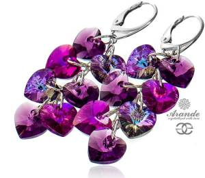 SWAROVSKI UNIQUE EARRINGS *VIOLET HEART MIX* STERLING SILVER 925