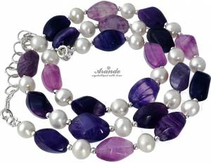 GENUINE NATURAL FLUORITE AND PEARLS NECKLACE STERLING SILVER 925